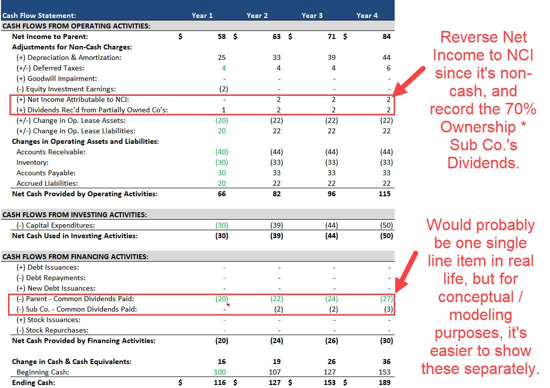 Noncontrolling Interests - Cash Flow Statement Projections